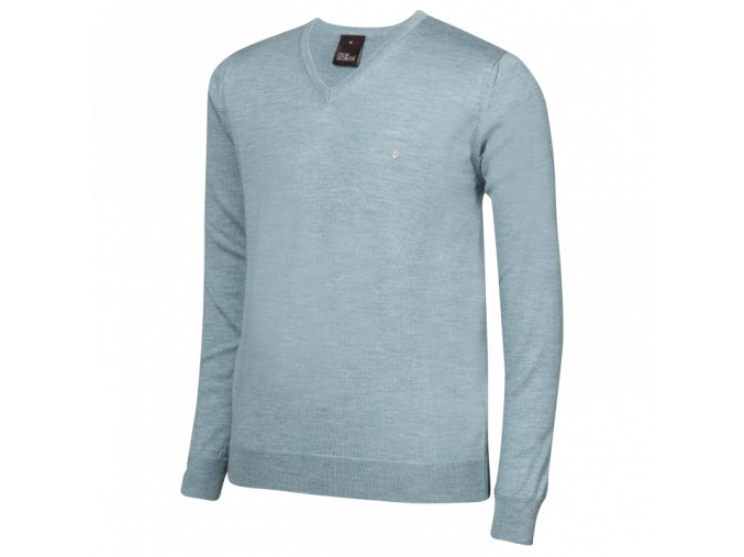 Oscar Jacobson Wyatt Pin V neck blue 67066768 202 front normal