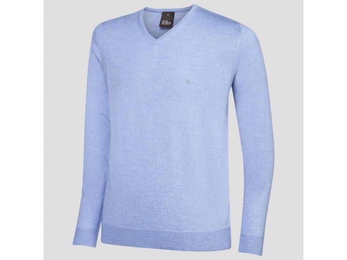Oscar Jacobson Wyatt Pin V neck blue 67066768 299 front normal