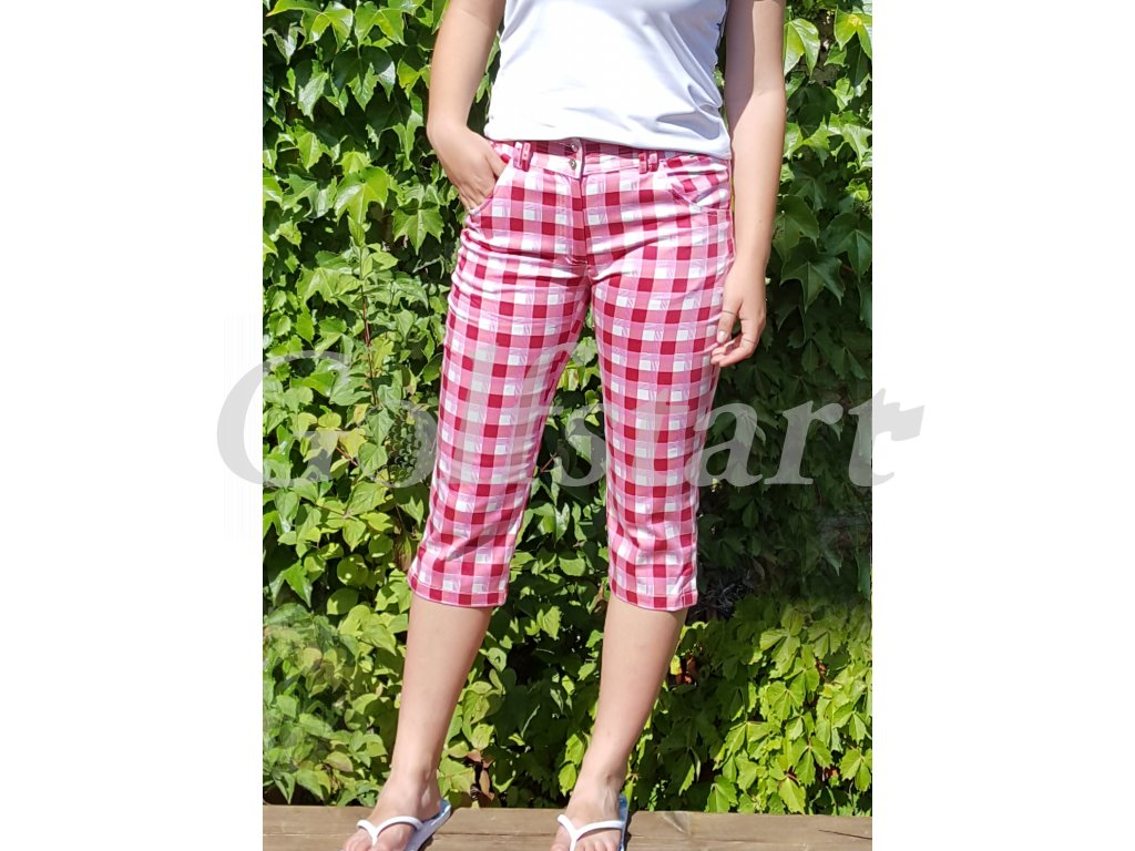 BackTee dámské kostkované capri kalhoty 36