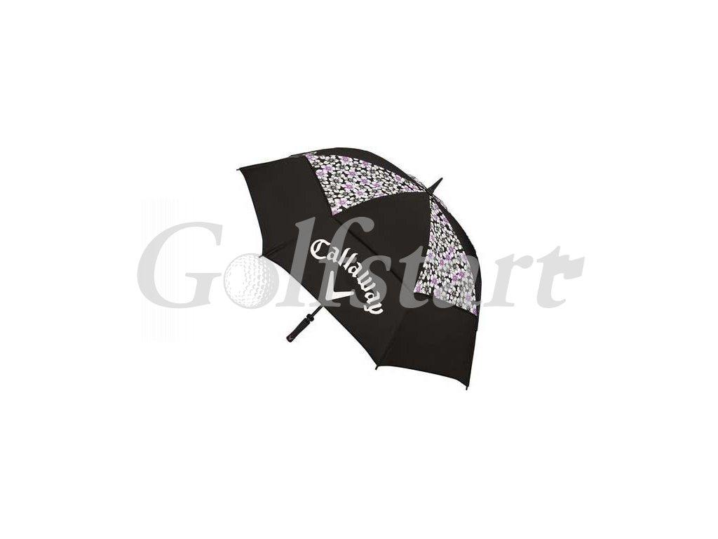 Callaway UpTown golfový deštník černý s květy