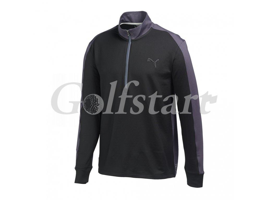 Puma Tech 1/4 Zip Popover golfová mikina černo antracitová
