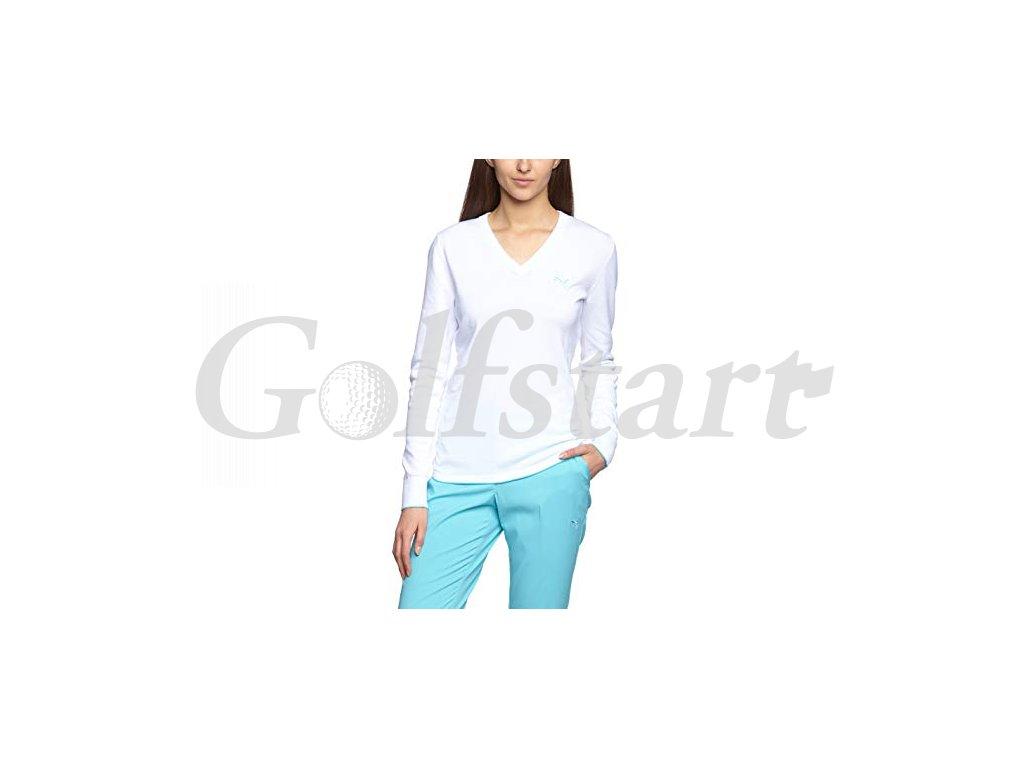 Puma dámský golfový svetr bílo a modrou pumou