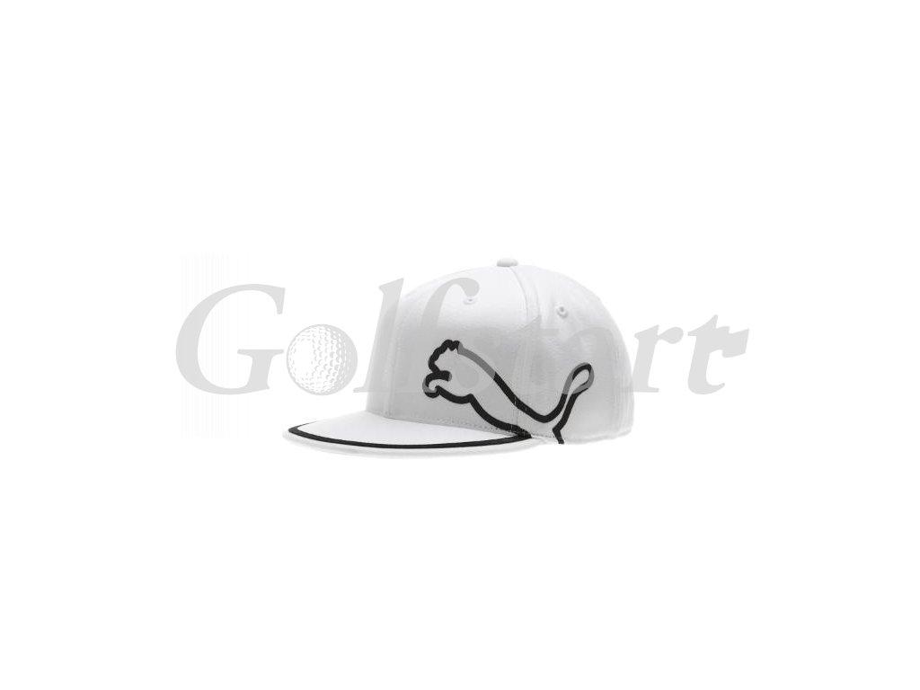 Puma Monolite Flat Brim golfová čepice bílá s černou pumou