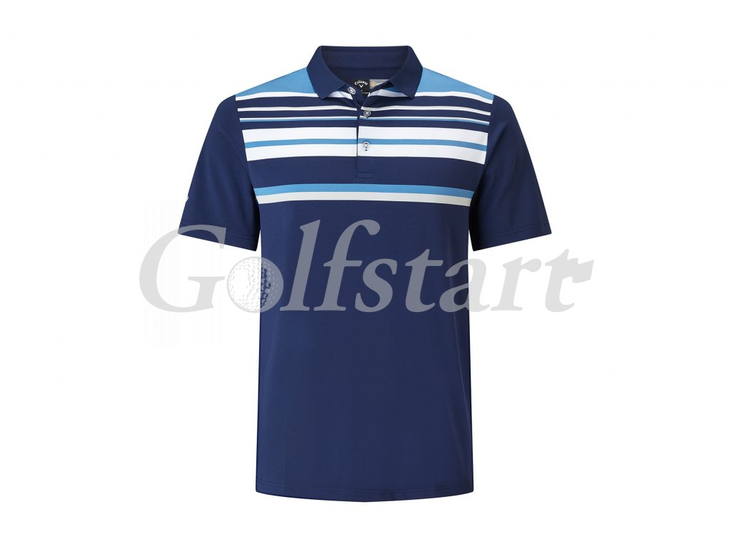 Callaway Engineered Roadmap Striped pánské golfové tričko modré