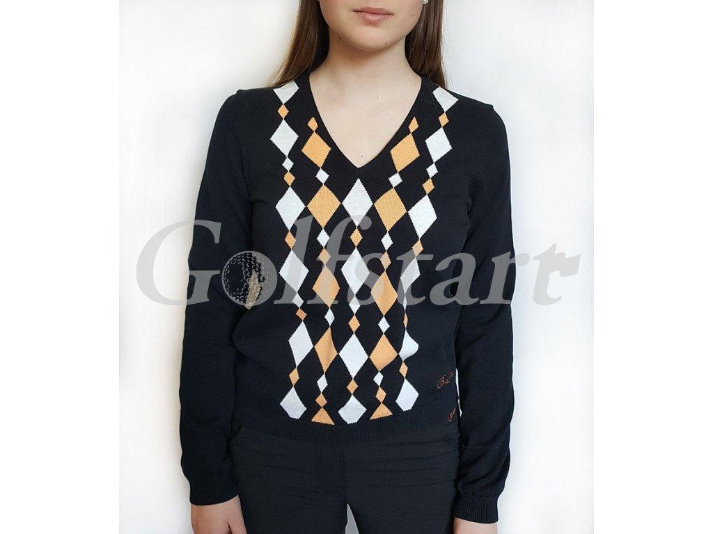 BackTee dámský golfový svetr černý s kosočtverci