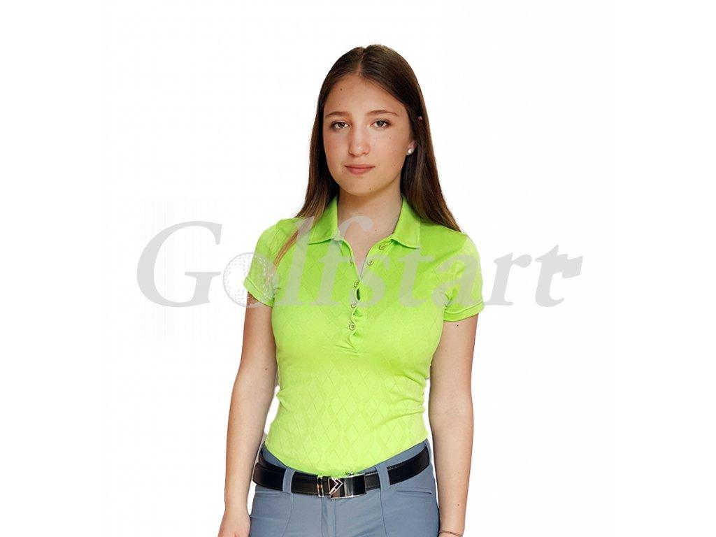 Tony Trevis dámské golfové tričko zelené s kosočtverci