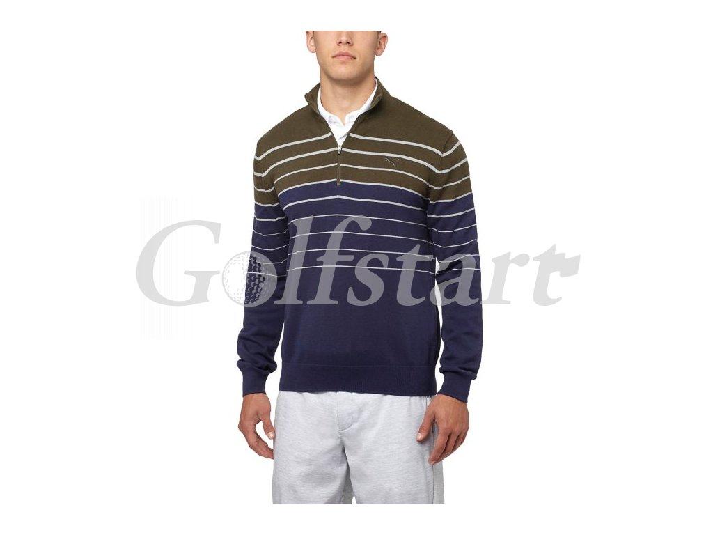 Puma 1/4 Zip golfový svetr v barvě forest night