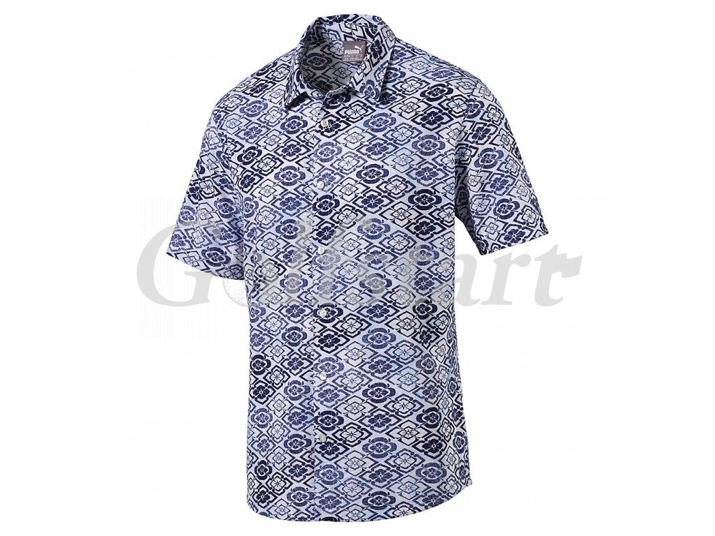 Puma Aloha Woven pánské golfové tričko potisk hawai - Golfstart.cz 215c9c832b