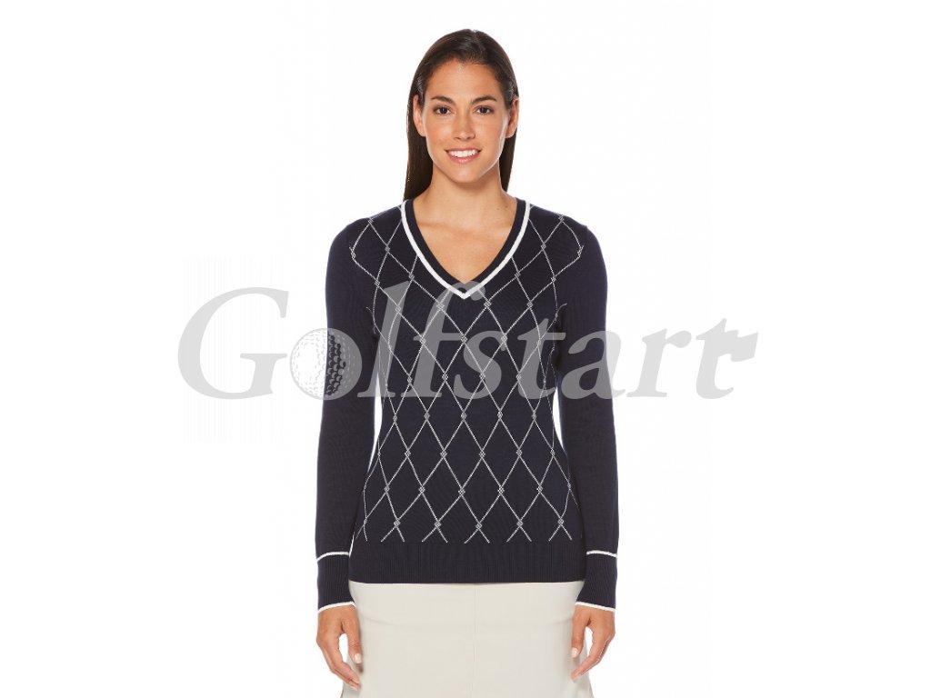 Callaway V Neck dámský golfový svetr tmavě modrý s kosočtverci