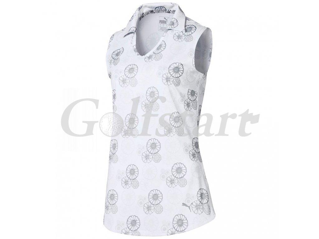 Puma Blossom dámské golfové tričko bez rukávů bílé s květy