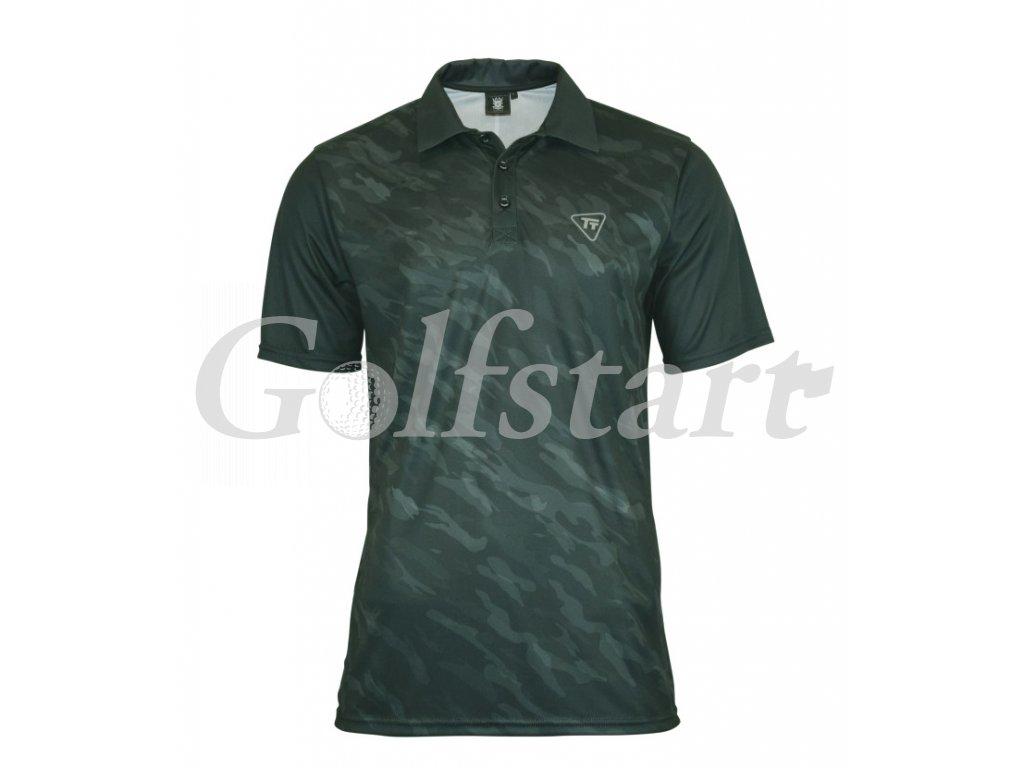 Tony Trevis pánské golfové tričko tmavě zelený maskáč