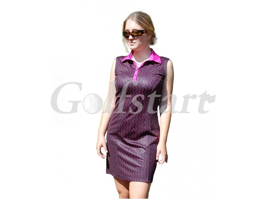 Tony Trevis dámské šaty bez rukávů  černé s puntíky