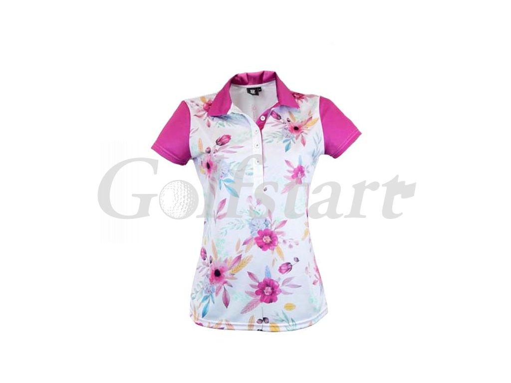 Tony Trevis dámské golfové tričko s květy růžový límeček
