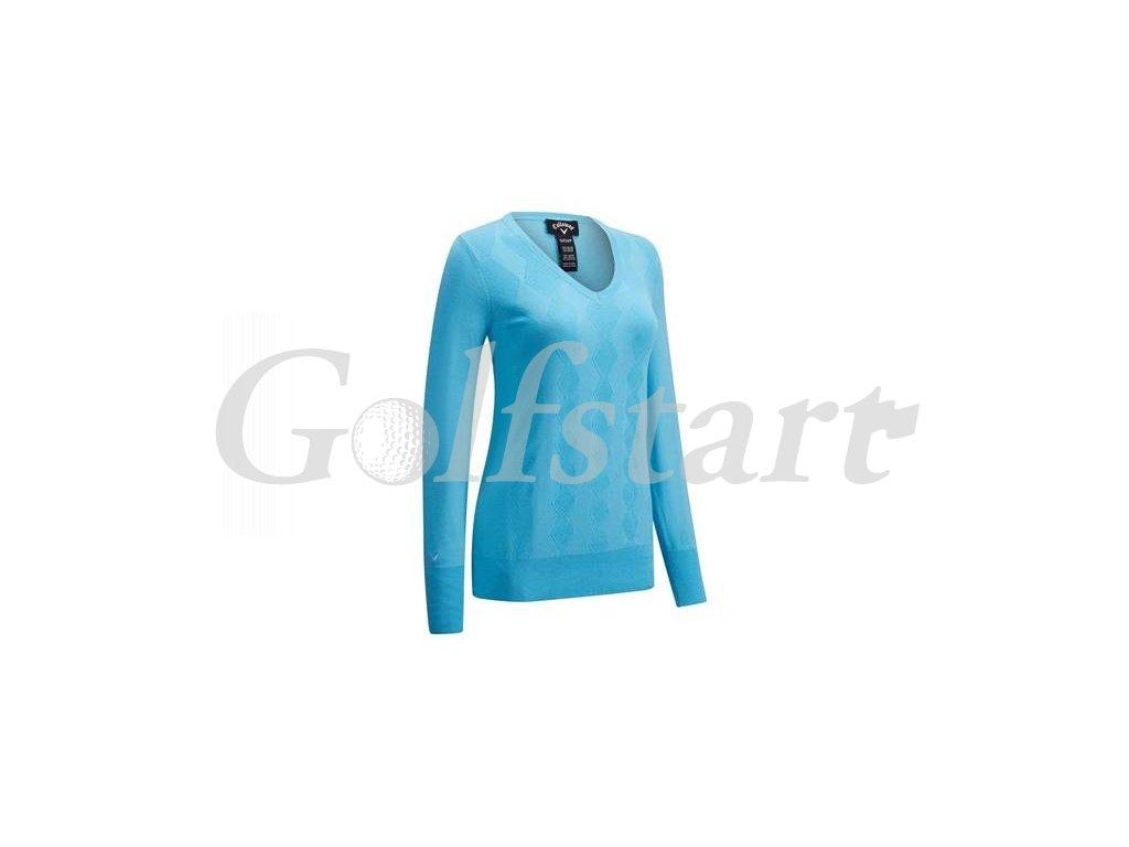 Callaway dámský golfový svetr do V, river blue