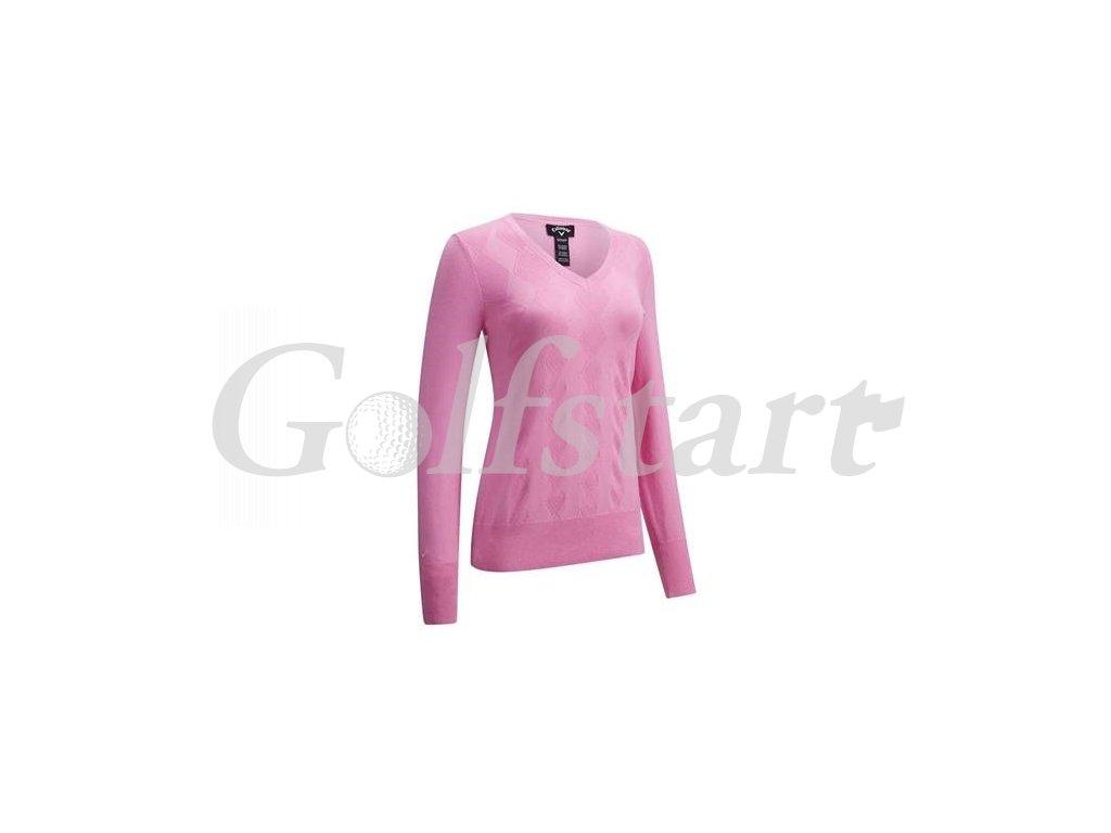 Callaway dámský golfový svetr do V, fuchsia pink
