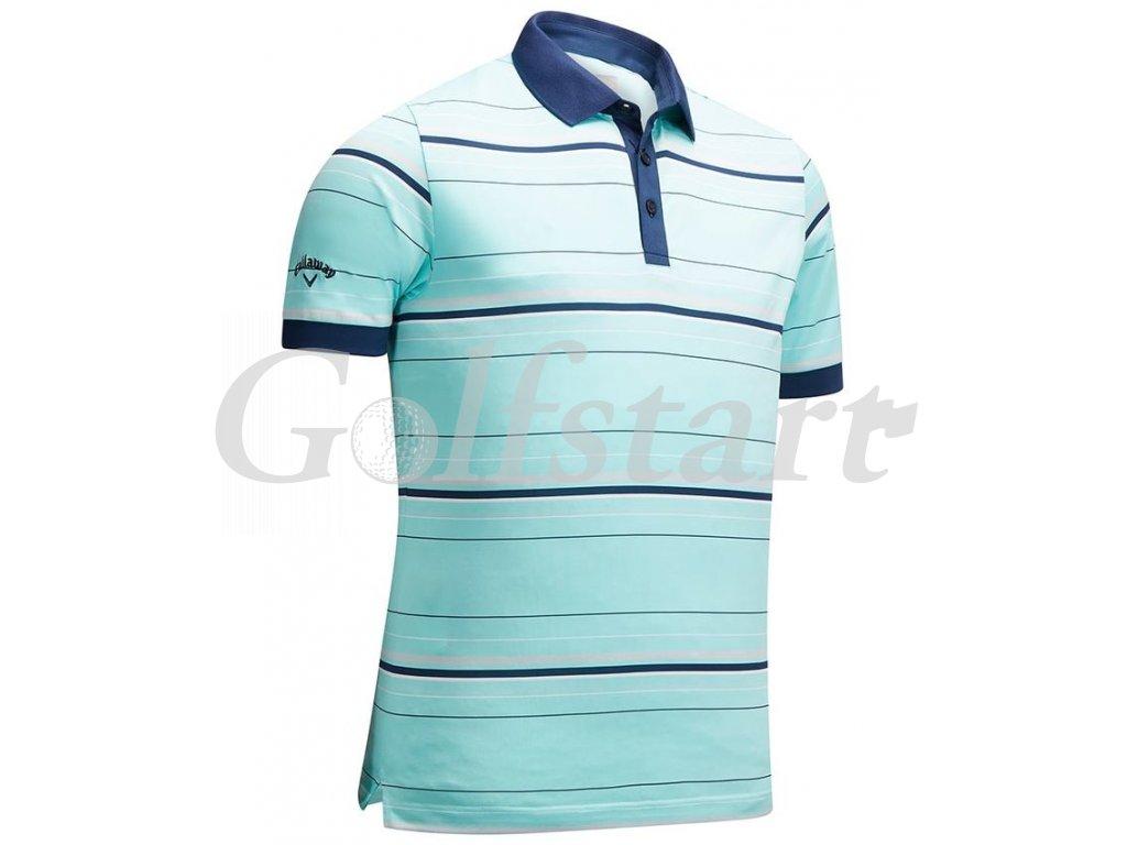 Callaway pánské golfové tričko 3 Color Striped - Arua blue