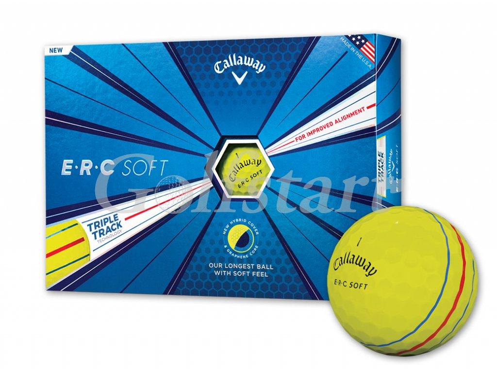 Callaway ERC SOFT golfové míčky žluté s pruhy 12ks