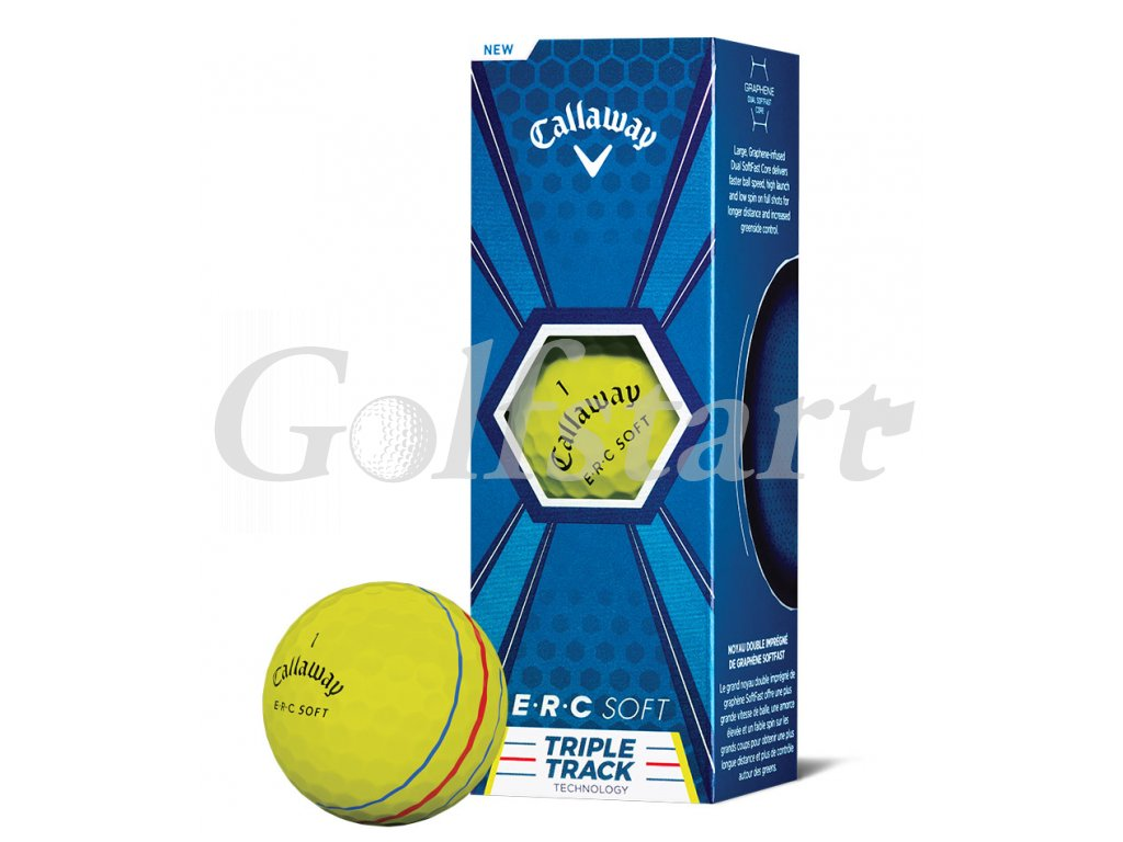 Callaway ERC SOFT golfové míčky žluté s pruhy 3ks