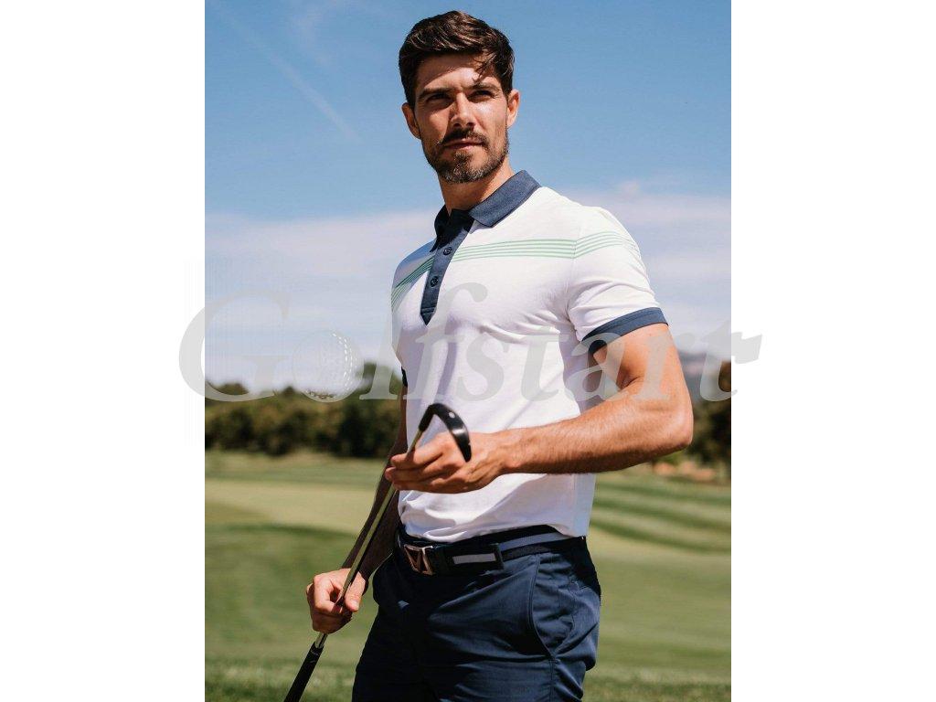 Callaway pánské golfové tričko bílé se zelenými pruhy