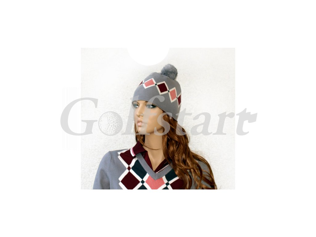 BackTee dámská zimní čepice šedá s kostkami