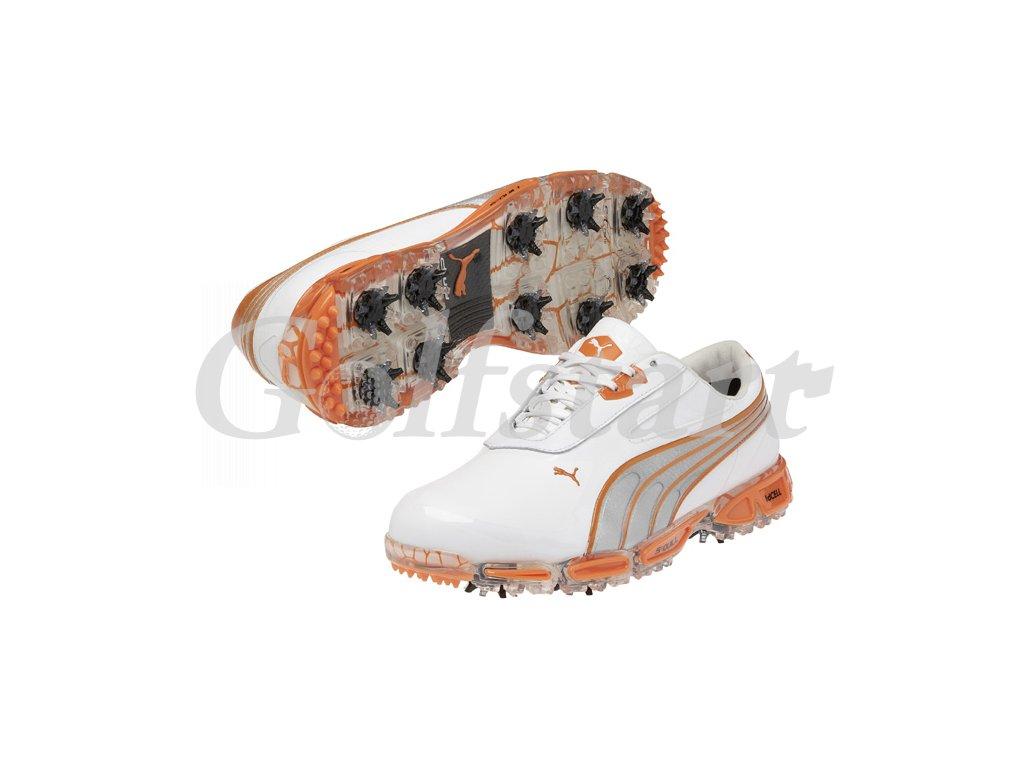 Puma AMP Cell Fusion pánské golfové boty bílo/oranžové