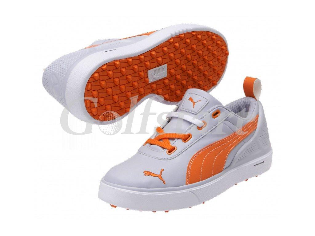 Puma juniorské golfové boty Monolite Mini - šedo oranžové