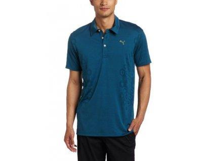 Puma Geometric Jacquard Tech Polo pánské golfové tričko modré