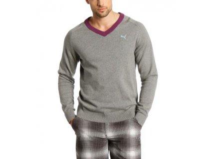 Puma pánský golfový svetr V neck  šedý