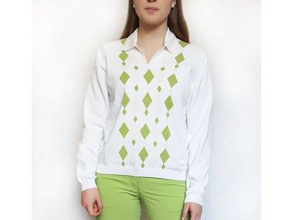 BackTee dámský golfový svetr bílý se zelenými kostkami