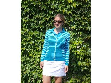 Puma dámský golfový svetr pruhoaný cardigan modrý