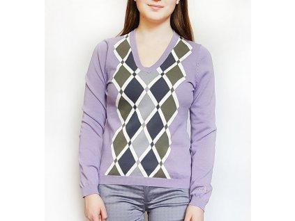 BackTee dámský golfový svetr fialový  s kostkami