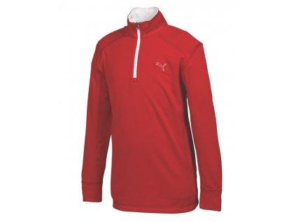 Puma Junior LS 1/4 Zip Top termo golfová mikina červená