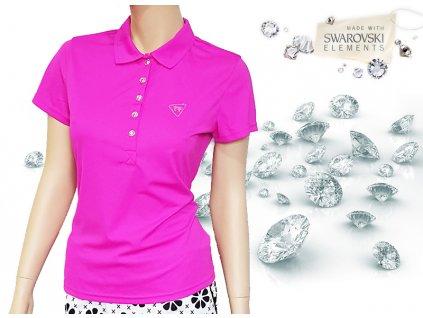 Tony Trevis dámské golfové tričko Swarovski elements - pink