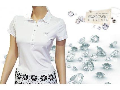 Tony Trevis dámské golfové tričko Swarovski elements - bílé