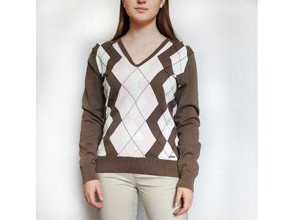 Rohnisch dámský golfový svetr hnědý s kosočtverci