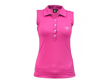 Tony Trevis dámské golfové tričko bez rukávů -swarovski pink