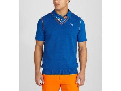 Puma pánská golfová vesta v retro stylu modrá