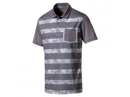Puma Tailored Camo Stripe pánské golfové tričko šedé