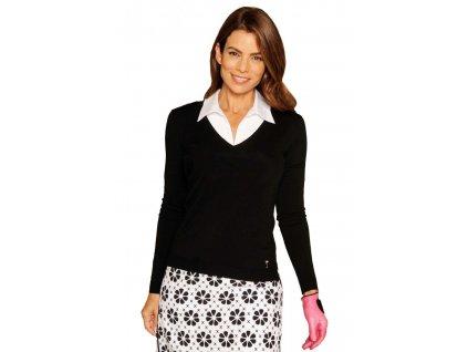 Golftini dámský golfový svetr s výstřihem do V - černý