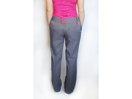 Dámské golfové kalhoty Adidas šedé s růžovým prošíváním