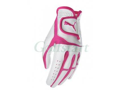 Puma Flexlite dámská kožená golfová rukavice bílo/růžová