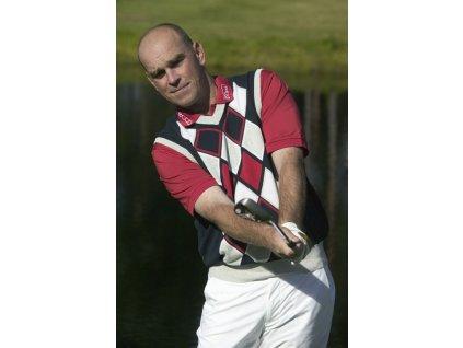 BackTee pánská golfová vesta tmavomodrá s kosočtverci
