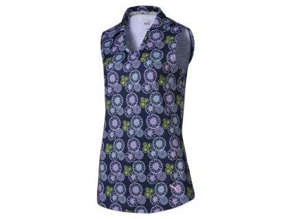 Puma Blossom dámské golfové tričko bez rukávů modré s květy