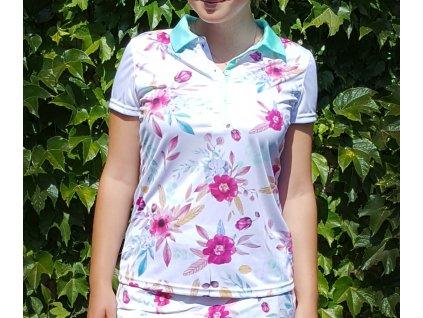 Tony Trevis dámské golfové tričko s květy mentolový límeček