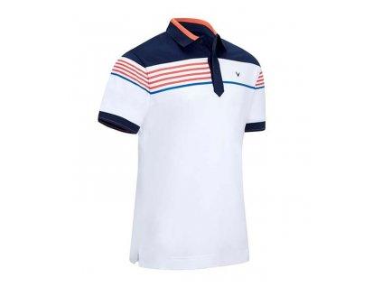 Callaway Stripe Chest pánské golfové tričko bílo modré