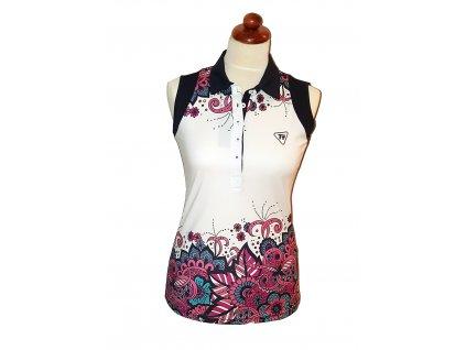 Tony Trevis dámské golfové tričko bez rukávů s květy