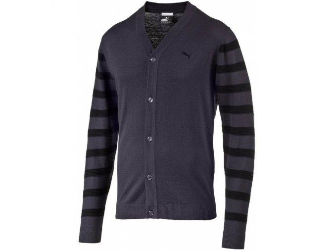 Puma Lux Cardigan pánský luxusní svetr grafit/černá