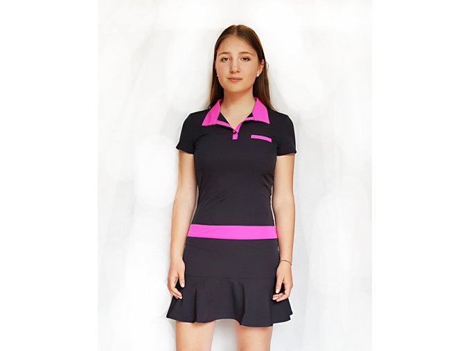 Tony Trevis dámské golfové šaty černo růžové