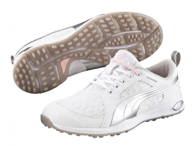 Puma BioFly Mesh dámské golfové boty bez spiků bílo stříbrné