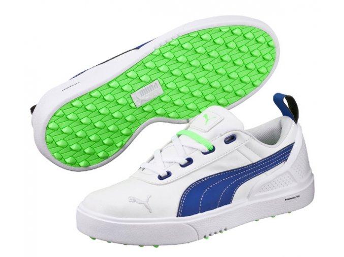 Puma MonoliteMini juniorské golfové boty bílá/modrá